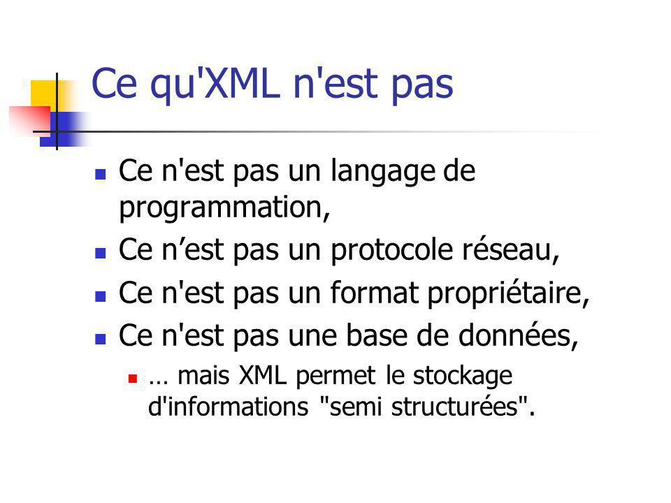 Ce qu'XML n'est pas Ce n'est pas un langage de programmation, Ce nest pas un protocole réseau, Ce n'est pas un format propriétaire, Ce n'est pas une b