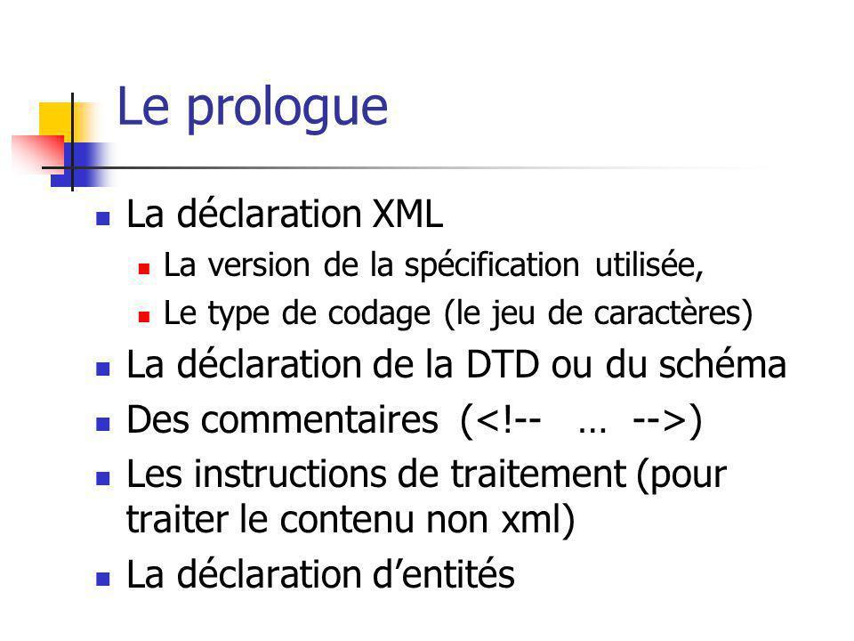 Le prologue La déclaration XML La version de la spécification utilisée, Le type de codage (le jeu de caractères) La déclaration de la DTD ou du schéma