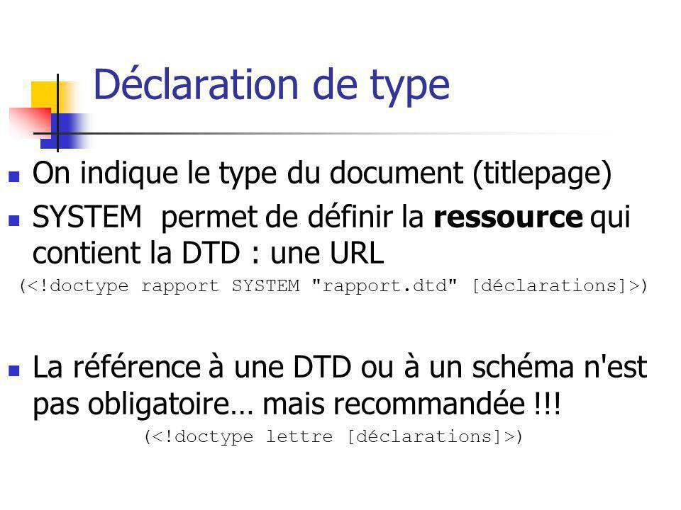 Déclaration de type On indique le type du document (titlepage) SYSTEM permet de définir la ressource qui contient la DTD : une URL ( ) La référence à