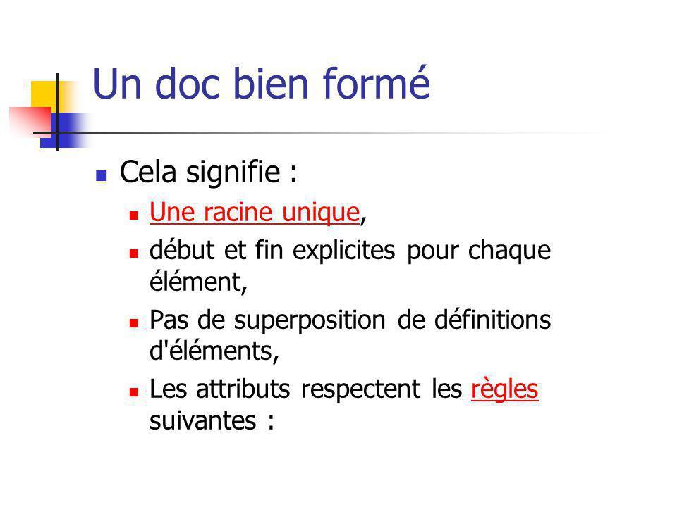 Un doc bien formé Cela signifie : Une racine unique, Une racine unique début et fin explicites pour chaque élément, Pas de superposition de définition