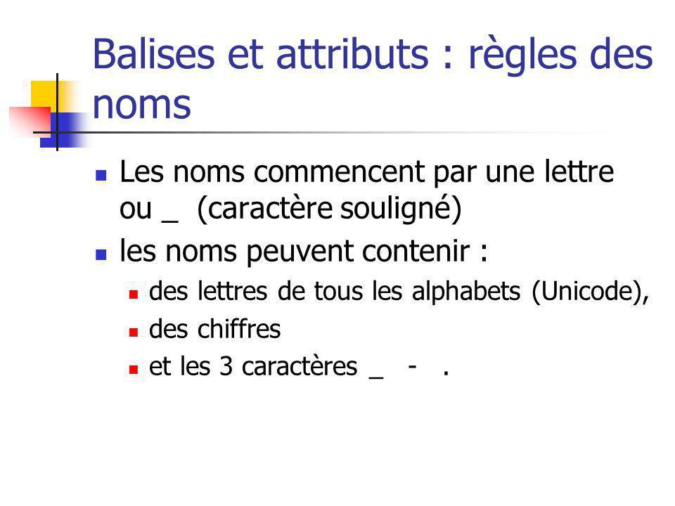 Balises et attributs : règles des noms Les noms commencent par une lettre ou _ (caractère souligné) les noms peuvent contenir : des lettres de tous le
