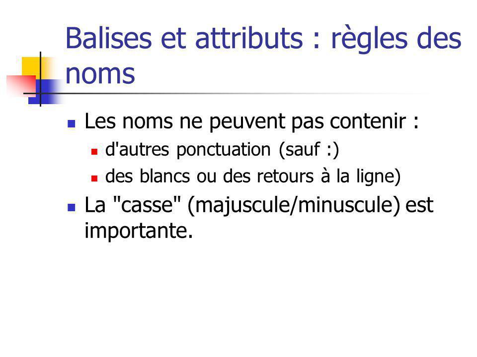 Balises et attributs : règles des noms Les noms ne peuvent pas contenir : d'autres ponctuation (sauf :) des blancs ou des retours à la ligne) La