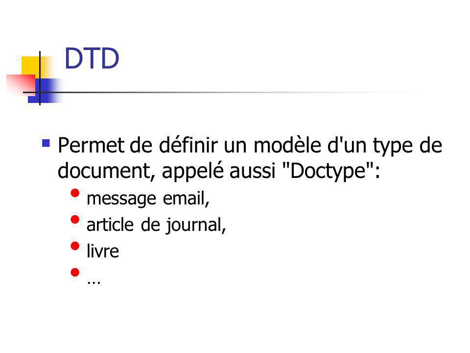DTD Permet de définir un modèle d'un type de document, appelé aussi