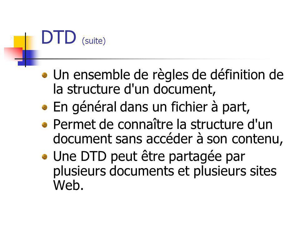 DTD (suite) Un ensemble de règles de définition de la structure d'un document, En général dans un fichier à part, Permet de connaître la structure d'u