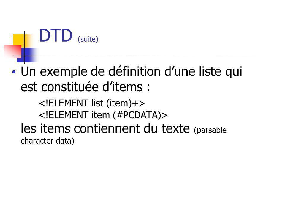 DTD (suite) Un exemple de définition dune liste qui est constituée ditems : les items contiennent du texte (parsable character data)