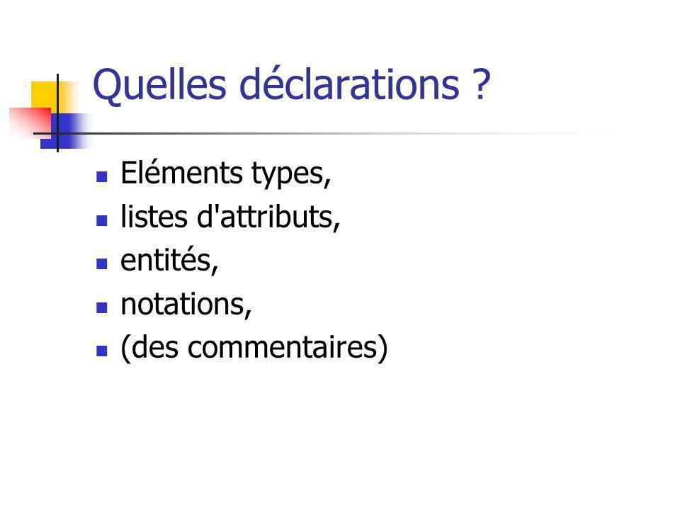 Quelles déclarations ? Eléments types, listes d'attributs, entités, notations, (des commentaires)
