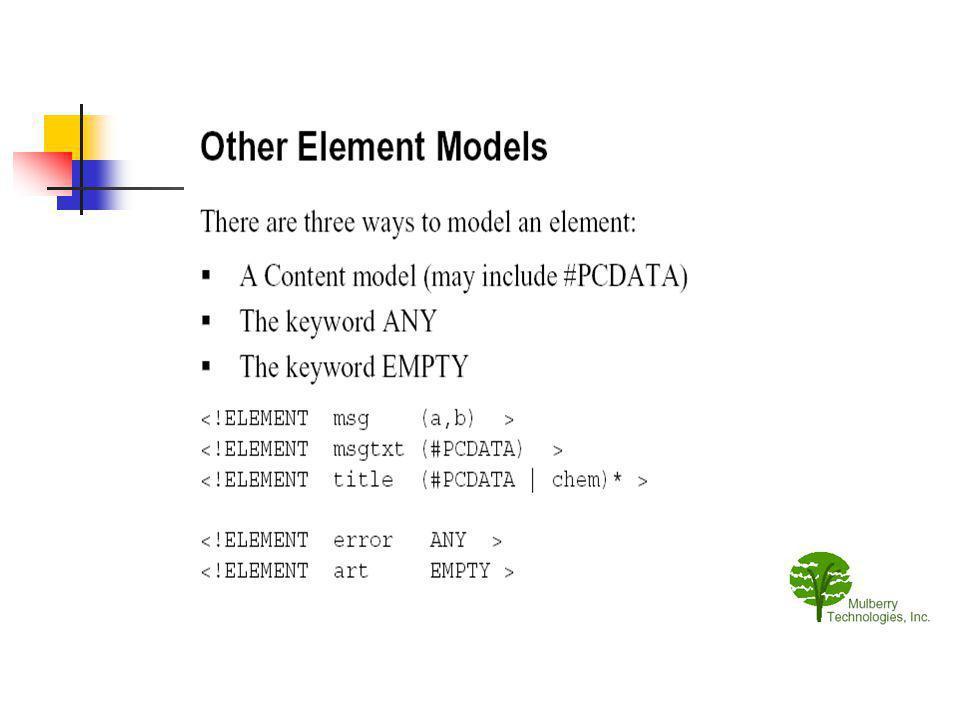 Eléments déclarés ANY Le contenu est : un groupe ou répétable, il peut contenir : des chaînes (#PCDATA) ou tout autre élément de la DTD.