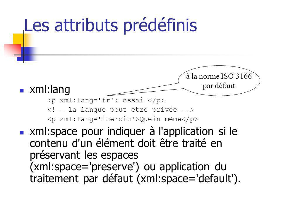 Les attributs prédéfinis xml:lang essai Quein même xml:space pour indiquer à l'application si le contenu d'un élément doit être traité en préservant l