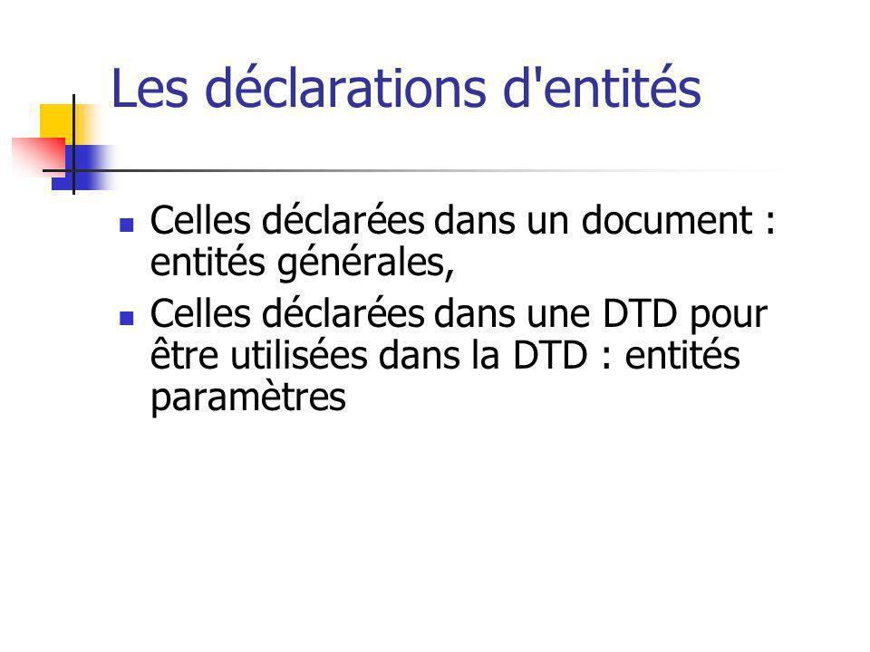 Les déclarations d'entités Celles déclarées dans un document : entités générales, Celles déclarées dans une DTD pour être utilisées dans la DTD : enti