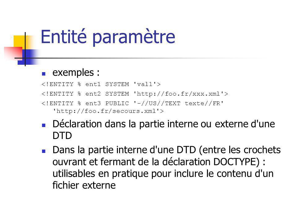 Entité paramètre exemples : Déclaration dans la partie interne ou externe d'une DTD Dans la partie interne d'une DTD (entre les crochets ouvrant et fe