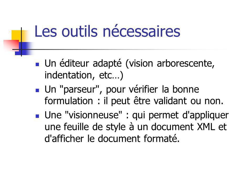 Les outils nécessaires Un éditeur adapté (vision arborescente, indentation, etc…) Un