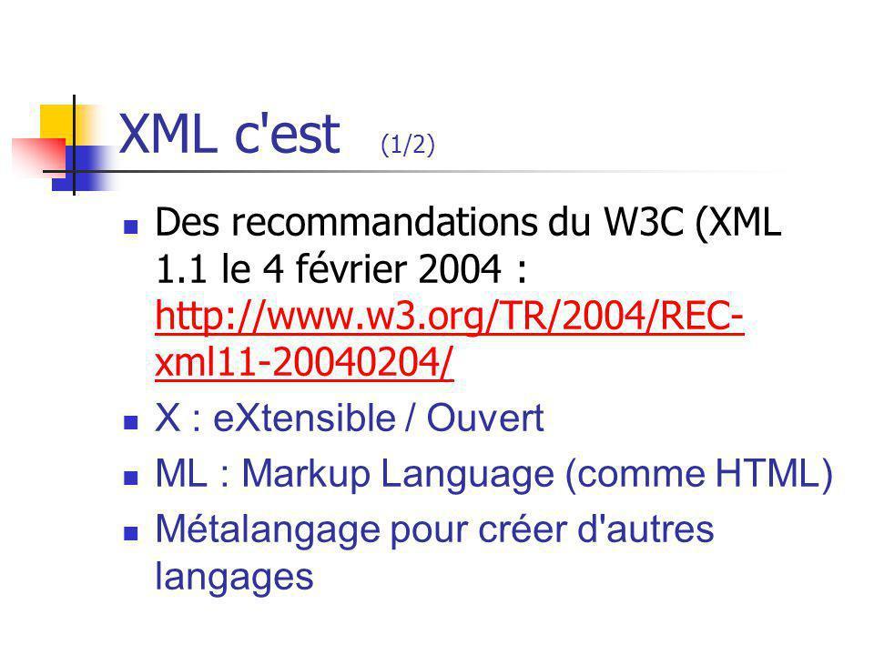 XML c'est (1/2) Des recommandations du W3C (XML 1.1 le 4 février 2004 : http://www.w3.org/TR/2004/REC- xml11-20040204/ http://www.w3.org/TR/2004/REC-