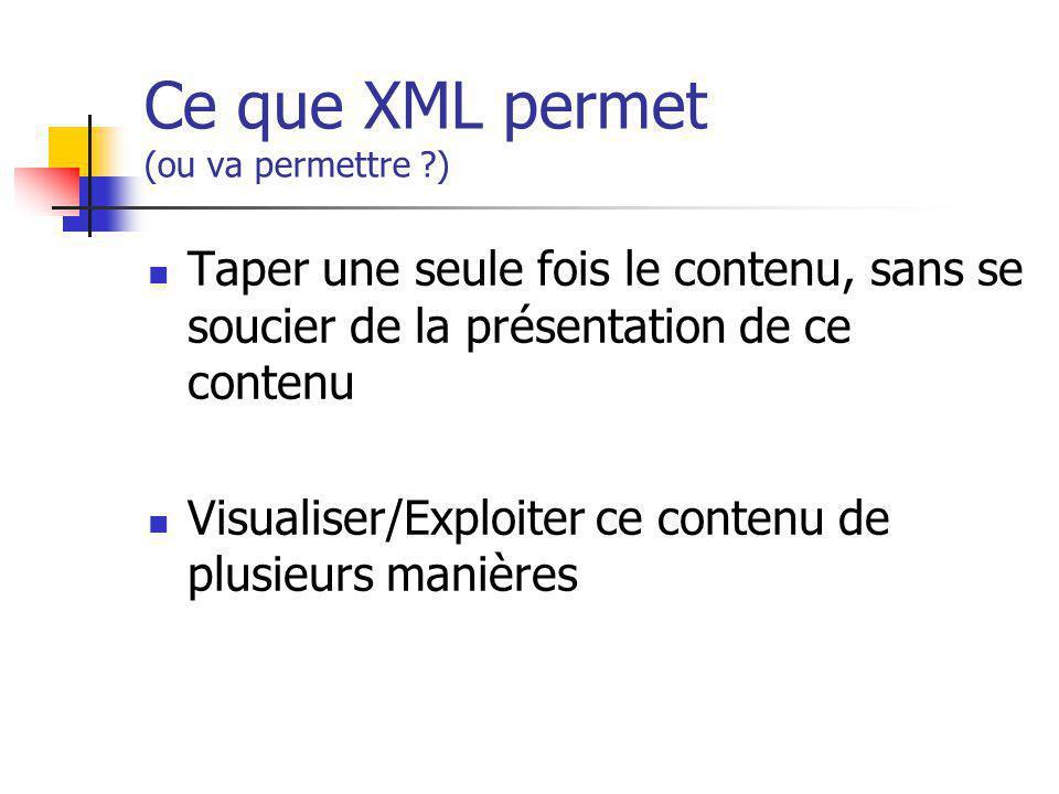 Ce que XML permet (ou va permettre ?) Taper une seule fois le contenu, sans se soucier de la présentation de ce contenu Visualiser/Exploiter ce conten