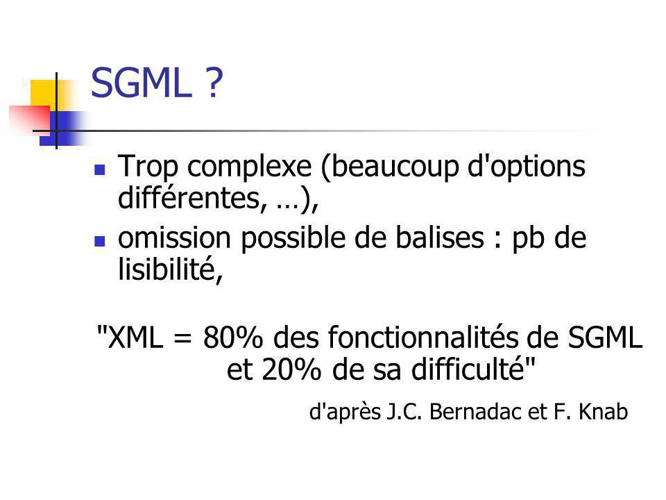 SGML ? Trop complexe (beaucoup d'options différentes, …), omission possible de balises : pb de lisibilité,