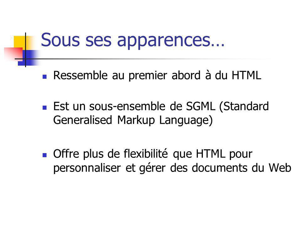 Sous ses apparences… Ressemble au premier abord à du HTML Est un sous-ensemble de SGML (Standard Generalised Markup Language) Offre plus de flexibilit