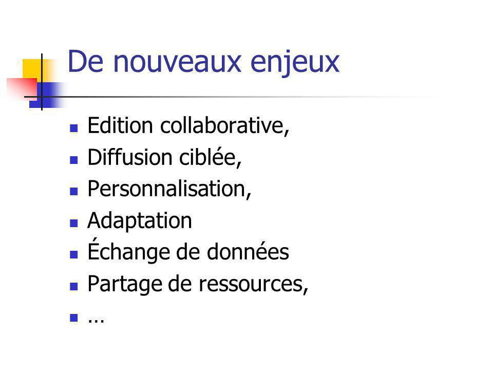De nouveaux enjeux Edition collaborative, Diffusion ciblée, Personnalisation, Adaptation Échange de données Partage de ressources, …