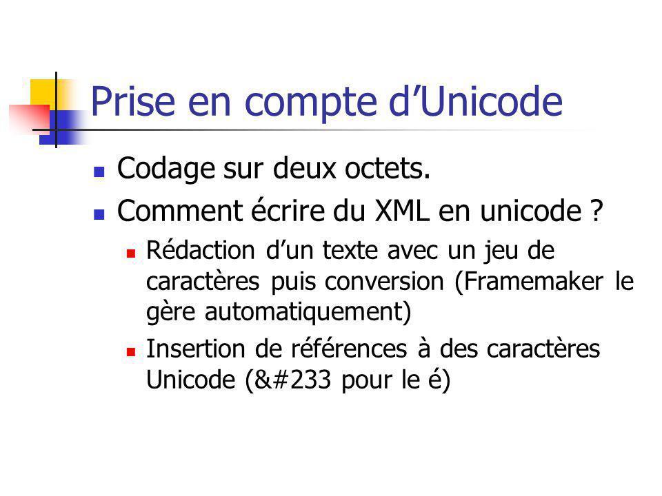 Prise en compte dUnicode Codage sur deux octets. Comment écrire du XML en unicode ? Rédaction dun texte avec un jeu de caractères puis conversion (Fra