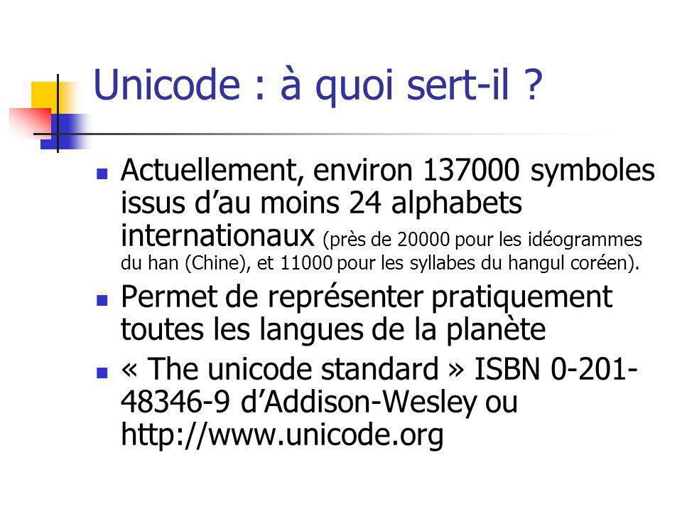 Unicode : à quoi sert-il ? Actuellement, environ 137000 symboles issus dau moins 24 alphabets internationaux (près de 20000 pour les idéogrammes du ha