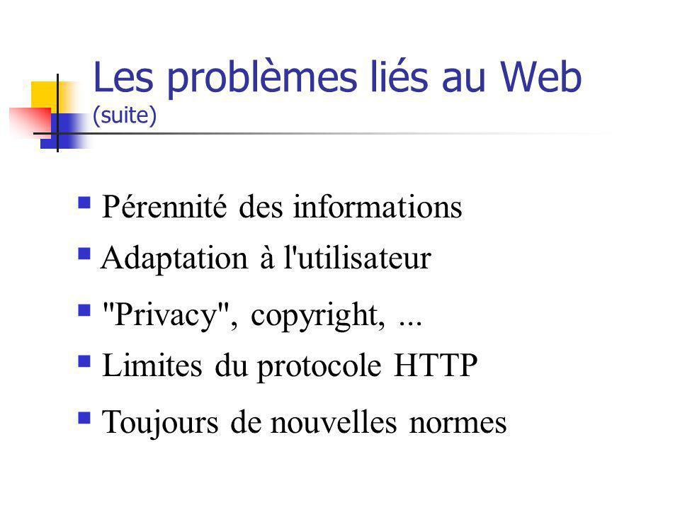 Les problèmes liés au Web (suite) Pérennité des informations Adaptation à l'utilisateur