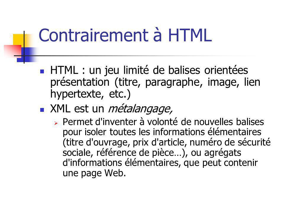Contrairement à HTML HTML : un jeu limité de balises orientées présentation (titre, paragraphe, image, lien hypertexte, etc.) XML est un métalangage,