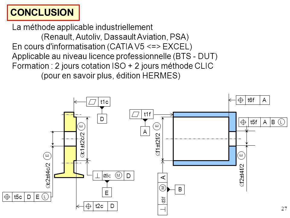 27 CONCLUSION La méthode applicable industriellement (Renault, Autoliv, Dassault Aviation, PSA) En cours d informatisation (CATIA V5 EXCEL) Applicable au niveau licence professionnelle (BTS - DUT) Formation : 2 jours cotation ISO + 2 jours méthode CLIC (pour en savoir plus, édition HERMES) t1c D c1±t2c/2 E t3c D M E E c2±t4c/2 D Et5c L t2cD t1f A f1±t2f/2 E t3f A M B E f2±t4f/2 A Bt5f L t6fA