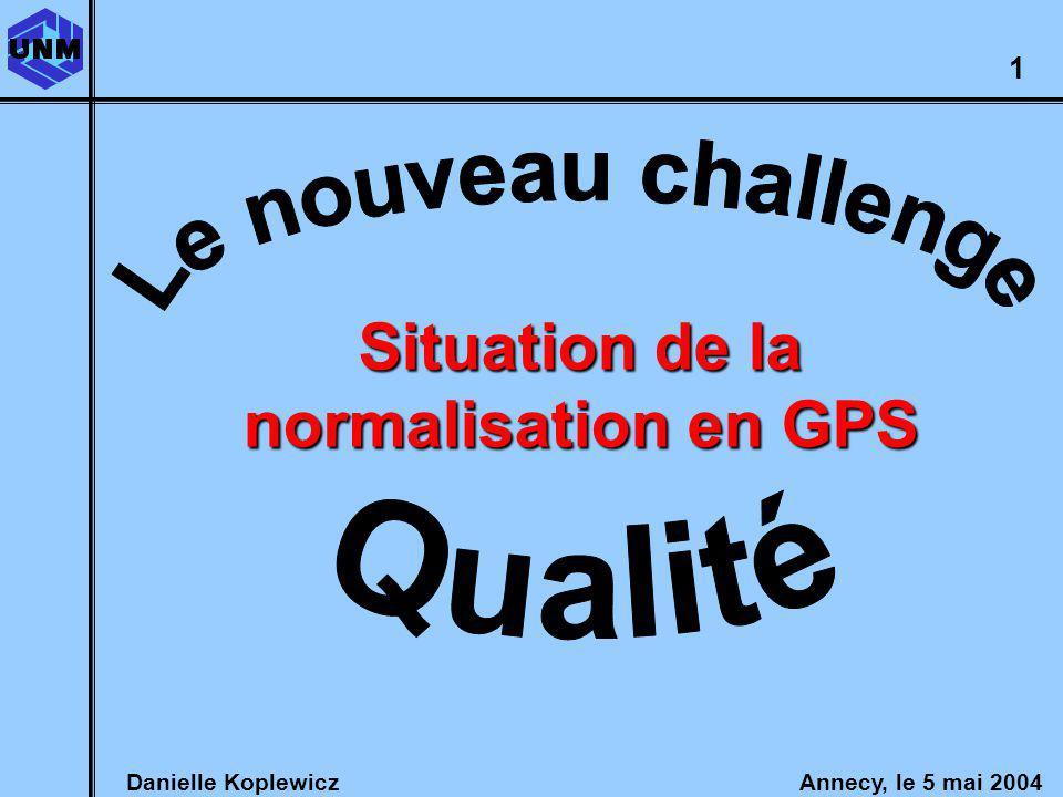 Danielle Koplewicz Annecy, le 5 mai 2004 GPS : le nouveau challenge Qualité 1 Situation de la normalisation en GPS