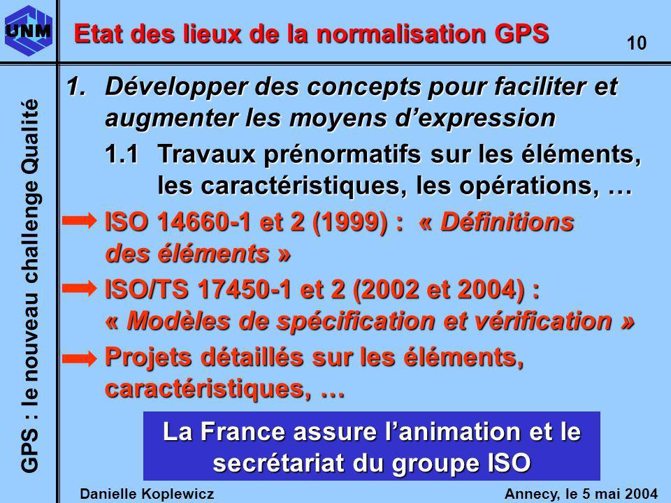 Danielle Koplewicz Annecy, le 5 mai 2004 GPS : le nouveau challenge Qualité 10 Etat des lieux de la normalisation GPS 1.1Travaux prénormatifs sur les éléments, les caractéristiques, les opérations, … ISO 14660-1 et 2 (1999) : « Définitions des éléments » ISO/TS 17450-1 et 2 (2002 et 2004) : « Modèles de spécification et vérification » Projets détaillés sur les éléments, caractéristiques, … La France assure lanimation et le secrétariat du groupe ISO 1.Développer des concepts pour faciliter et augmenter les moyens dexpression