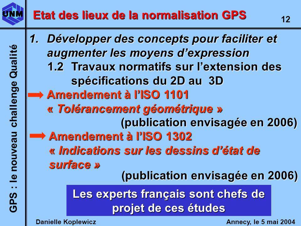 Danielle Koplewicz Annecy, le 5 mai 2004 GPS : le nouveau challenge Qualité 12 Etat des lieux de la normalisation GPS 1.2Travaux normatifs sur lextension des spécifications du 2D au 3D Amendement à lISO 1101 « Tolérancement géométrique » Amendement à lISO 1302 « Indications sur les dessins détat de surface » Les experts français sont chefs de projet de ces études 1.Développer des concepts pour faciliter et augmenter les moyens dexpression (publication envisagée en 2006)