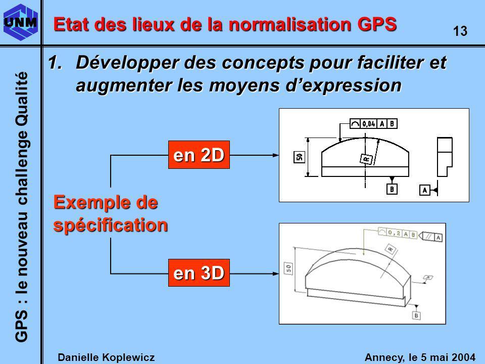 Danielle Koplewicz Annecy, le 5 mai 2004 GPS : le nouveau challenge Qualité 13 Etat des lieux de la normalisation GPS 1.Développer des concepts pour faciliter et augmenter les moyens dexpression Exemple de spécification en 2D en 3D