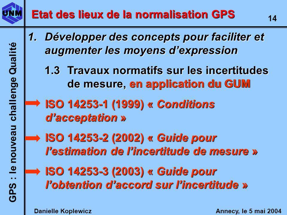 Danielle Koplewicz Annecy, le 5 mai 2004 GPS : le nouveau challenge Qualité 14 Etat des lieux de la normalisation GPS 1.Développer des concepts pour faciliter et augmenter les moyens dexpression 1.3Travaux normatifs sur les incertitudes de mesure, en application du GUM ISO 14253-1 (1999) « Conditions dacceptation » ISO 14253-2 (2002) « Guide pour lestimation de lincertitude de mesure » ISO 14253-3 (2003) « Guide pour lobtention daccord sur lincertitude » en application du GUM