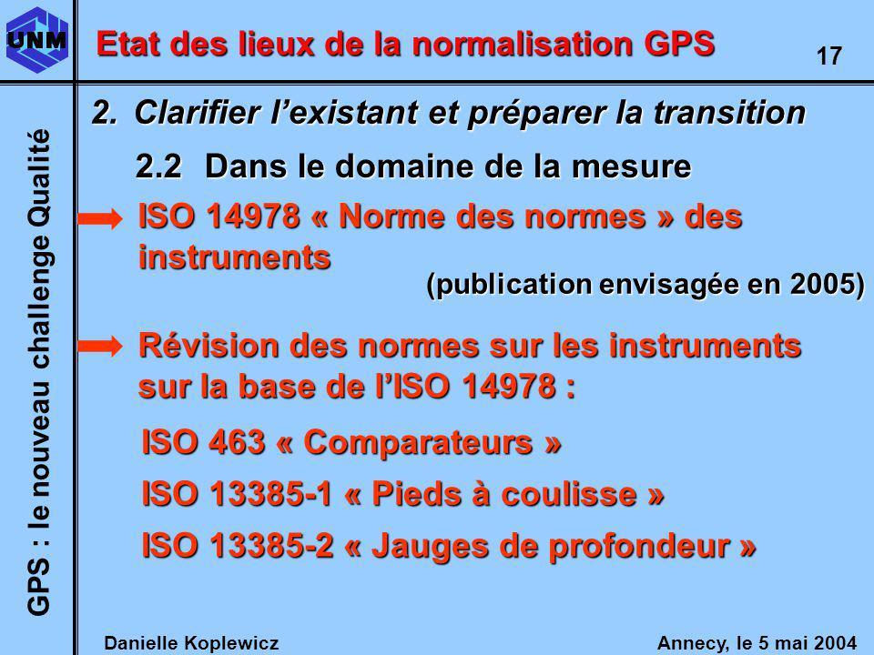 Danielle Koplewicz Annecy, le 5 mai 2004 GPS : le nouveau challenge Qualité 17 Etat des lieux de la normalisation GPS 2.Clarifier lexistant et préparer la transition 2.2Dans le domaine de la mesure Révision des normes sur les instruments sur la base de lISO 14978 : ISO 14978 « Norme des normes » des instruments (publication envisagée en 2005) ISO 463 « Comparateurs » ISO 13385-1 « Pieds à coulisse » ISO 13385-2 « Jauges de profondeur »