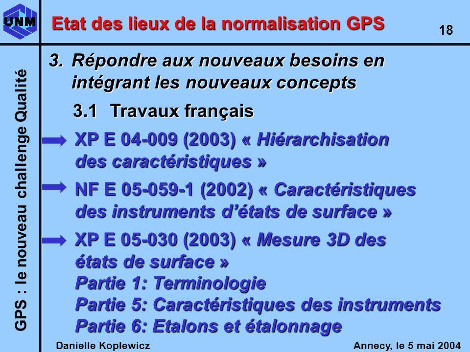 Danielle Koplewicz Annecy, le 5 mai 2004 GPS : le nouveau challenge Qualité 18 Etat des lieux de la normalisation GPS 3.1Travaux français 3.Répondre aux nouveaux besoins en intégrant les nouveaux concepts XP E 04-009 (2003) « Hiérarchisation des caractéristiques » Partie 1: Terminologie XP E 05-030 (2003) « Mesure 3D des états de surface » Partie 5: Caractéristiques des instruments Partie 6: Etalons et étalonnage NF E 05-059-1 (2002) « Caractéristiques des instruments détats de surface »