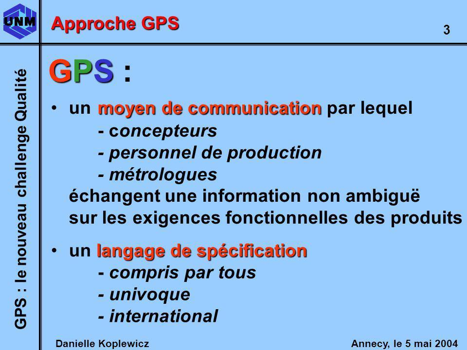 Danielle Koplewicz Annecy, le 5 mai 2004 GPS : le nouveau challenge Qualité 3 moyen de communicationun moyen de communication par lequel - concepteurs - personnel de production - métrologues échangent une information non ambiguë sur les exigences fonctionnelles des produits Approche GPS langage de spécificationun langage de spécification - compris par tous - univoque - international GPS GPS :