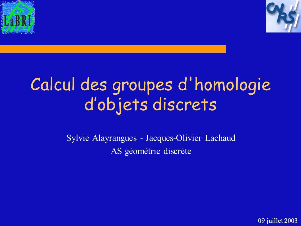 Calcul des groupes d'homologie dobjets discrets Sylvie Alayrangues - Jacques-Olivier Lachaud AS géométrie discrète 09 juillet 2003