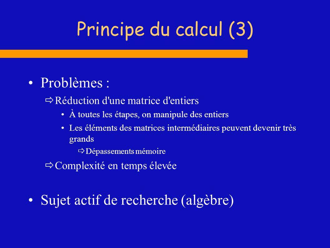 Principe du calcul (3) Problèmes : Réduction d'une matrice d'entiers À toutes les étapes, on manipule des entiers Les éléments des matrices intermédia