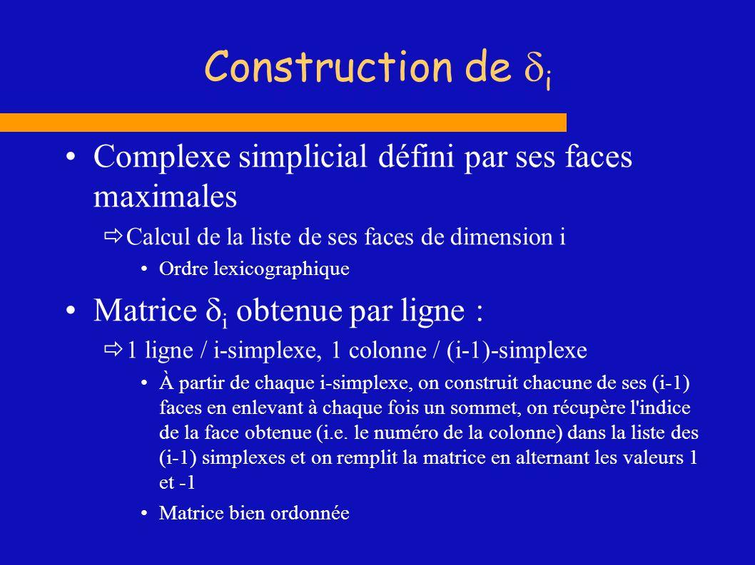 Construction de i Complexe simplicial défini par ses faces maximales Calcul de la liste de ses faces de dimension i Ordre lexicographique Matrice i ob