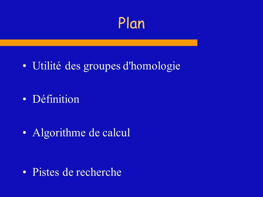 Plan Utilité des groupes d'homologie Définition Algorithme de calcul Pistes de recherche