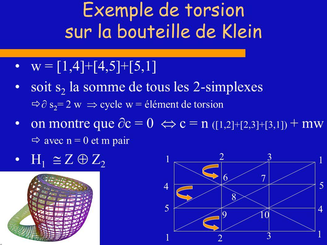Exemple de torsion sur la bouteille de Klein w = [1,4]+[4,5]+[5,1] soit s 2 la somme de tous les 2-simplexes s 2 = 2 w cycle w = élément de torsion on