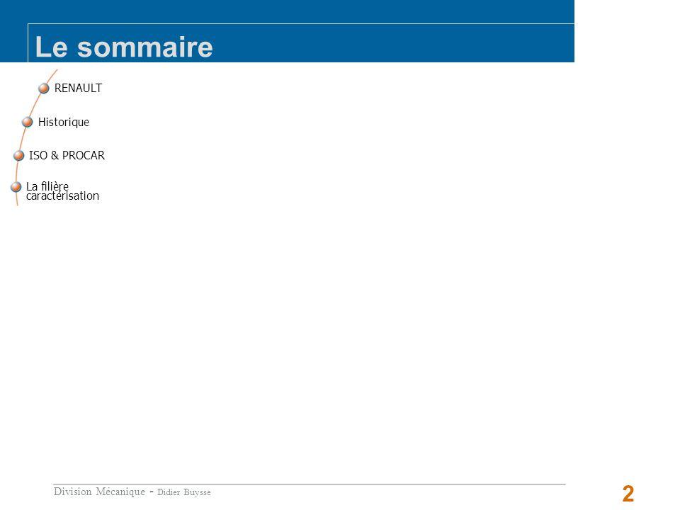 Division Mécanique - Didier Buysse 2 RENAULT La filière caractérisation ISO & PROCAR Historique Le sommaire
