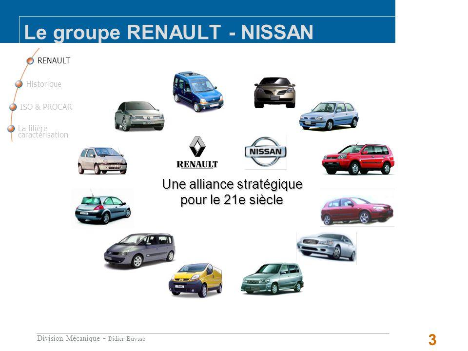 Division Mécanique - Didier Buysse 3 Le groupe RENAULT - NISSAN RENAULT La filière caractérisation ISO & PROCAR Historique Une alliance stratégique pour le 21e siècle