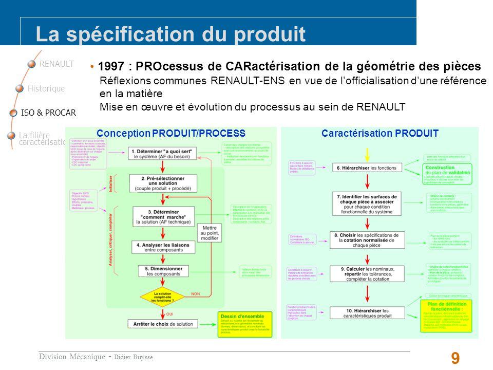 Division Mécanique - Didier Buysse 9 1997 : PROcessus de CARactérisation de la géométrie des pièces Réflexions communes RENAULT-ENS en vue de lofficialisation dune référence en la matière Mise en œuvre et évolution du processus au sein de RENAULT RENAULT La filière caractérisation ISO & PROCAR Historique La spécification du produit Renault est engagée dans une démarche ambitieuse daccroissement de sa performance de développement, ce qui nécessite la mise en œuvre de méthodologies en rupture avec nos pratiques actuelles.