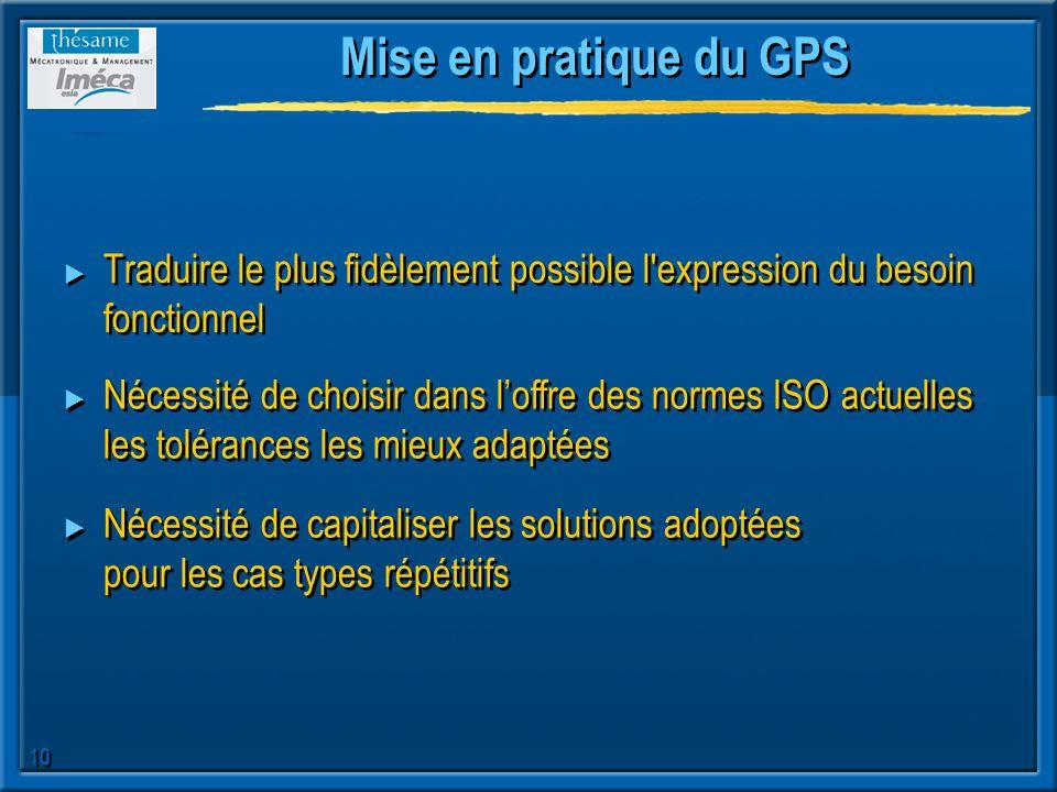 10 Mise en pratique du GPS Traduire le plus fidèlement possible l'expression du besoin fonctionnel Nécessité de choisir dans loffre des normes ISO act