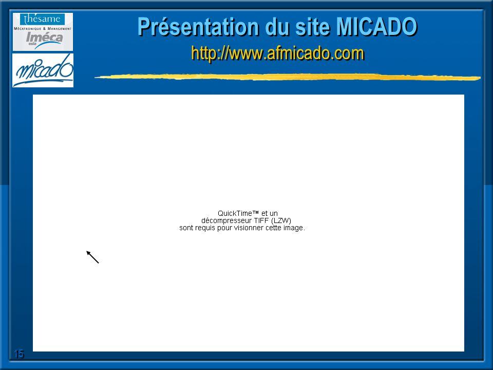 15 Présentation du site MICADO http://www.afmicado.com