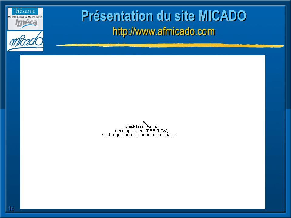 16 Présentation du site MICADO http://www.afmicado.com