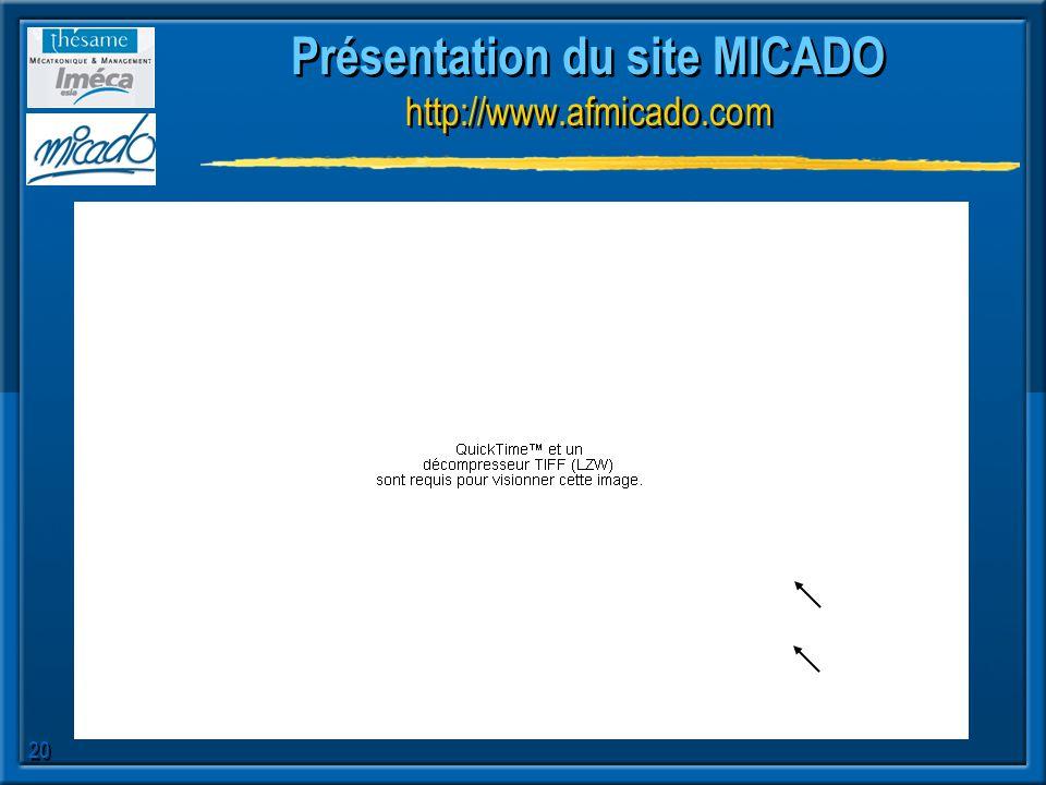 20 Présentation du site MICADO http://www.afmicado.com
