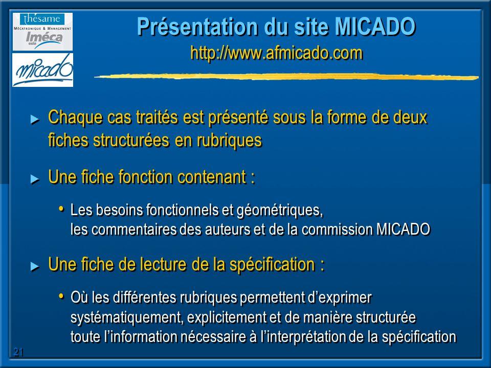21 Présentation du site MICADO http://www.afmicado.com Chaque cas traités est présenté sous la forme de deux fiches structurées en rubriques Une fiche