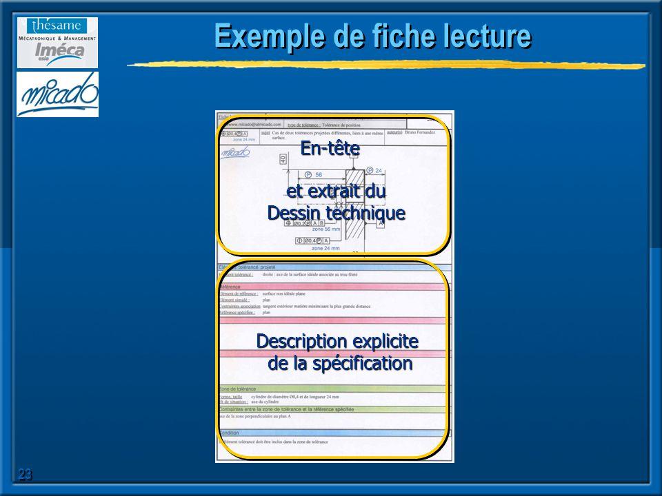 23 Exemple de fiche lecture Description explicite de la spécification et extrait du Dessin technique En-tête