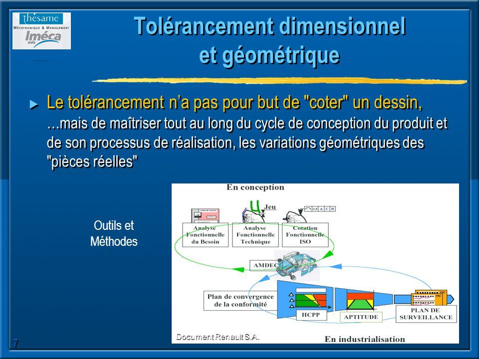7 Tolérancement dimensionnel et géométrique Le tolérancement na pas pour but de