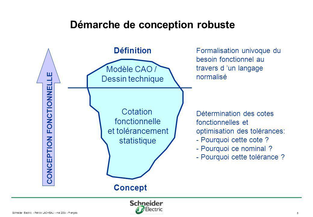 Schneider Electric - Patrick LACHEAU - mai 2004 - Français 6 Processus de cotation fonctionnelle Production Qualification Industrialisation Modélisation CAO Tolérancement Analyse de sensibilité Épure fonctionnelle Modèle de simulation C.d.C.F.