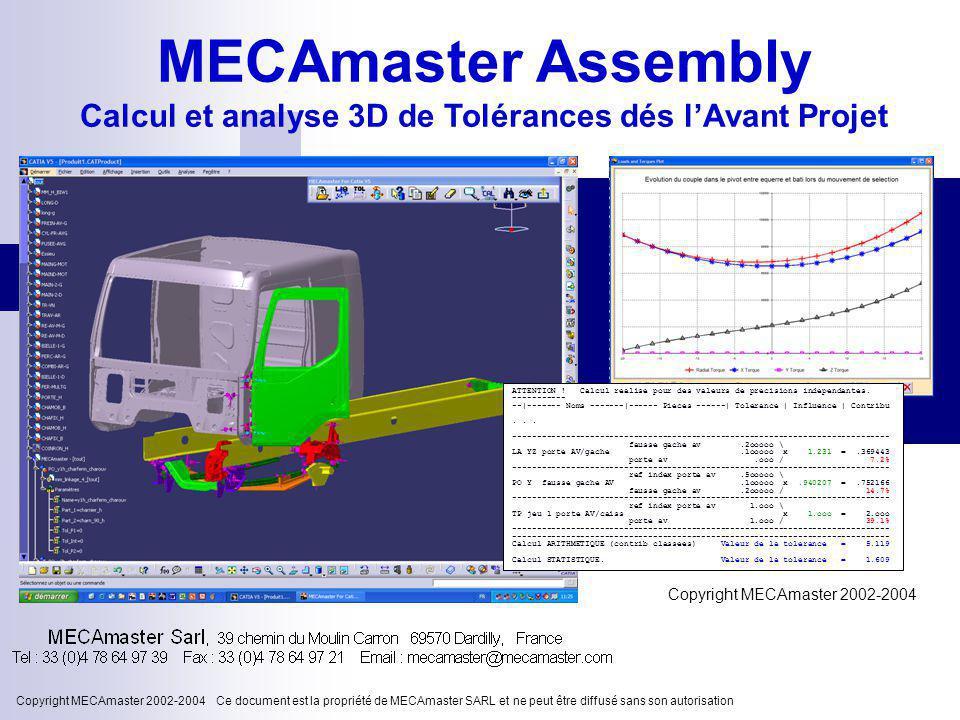 Copyright MECAmaster 2002-2004 Ce document est la propriété de MECAmaster SARL et ne peut être diffusé sans son autorisation Copyright MECAmaster 2002